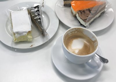 Cakes and cappuccino